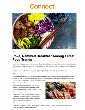 Poke, Remixed Breakfast Among Latest Food Trends