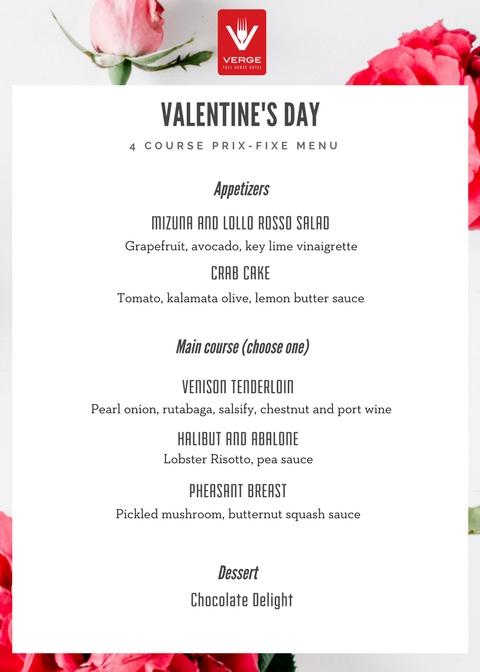 Valentine S Day Prixe Fixe Dinner Verge Restaurant
