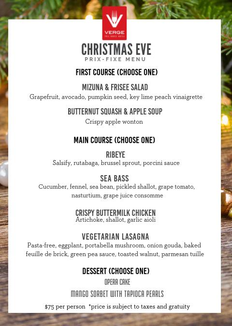 Christmas Eve Dinner Menu.Christmas Eve Prix Fixe Dinner Menu At Verge